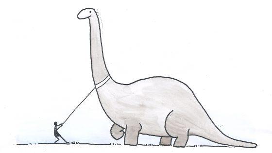 Wenn Dinosaurier noch lebten - Gassigehen mit einem Brontosaurus