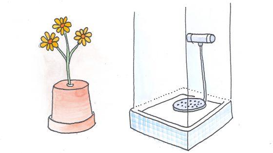 Blumengießen und Duschen von unten: Wenn Wasser leichter als Luft wäre.